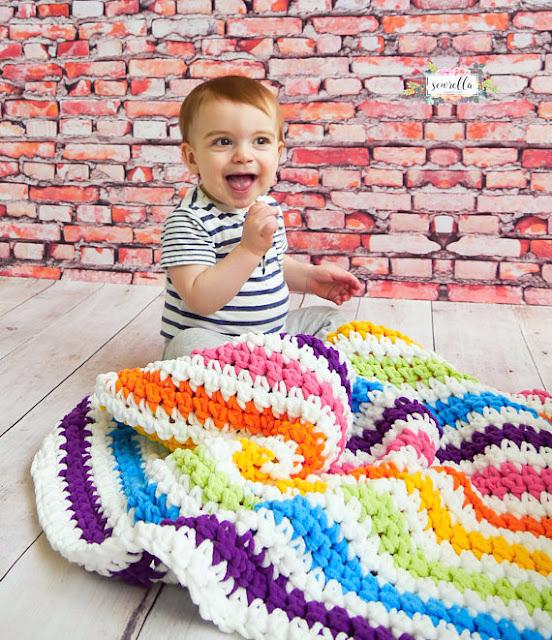 Rainbow Stripes Baby Blanket Crochet pattern