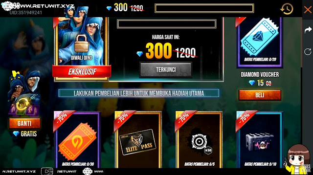 Event Mystery Shop Terbaru Free Fire Dino Denim Dino Diwali