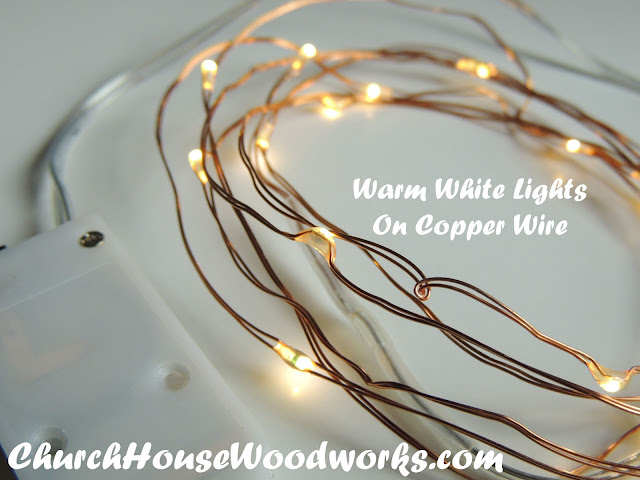 Warm White Lights On Copper Wire LED Battery Operated String Lights