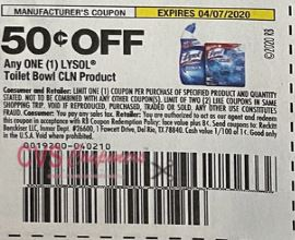 "$0.50/1 Lysol Toilet Bowl product Coupon from ""SMARTSOURCE"" insert week of 3/8/20."