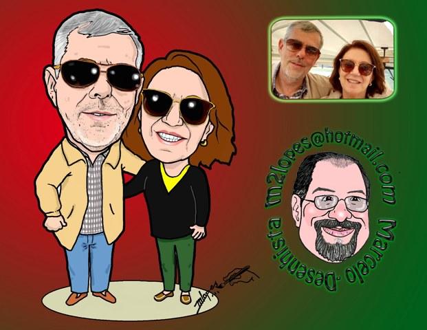 Caricatura de casal é com o Desenhista Marcelo Lopes de Lopes