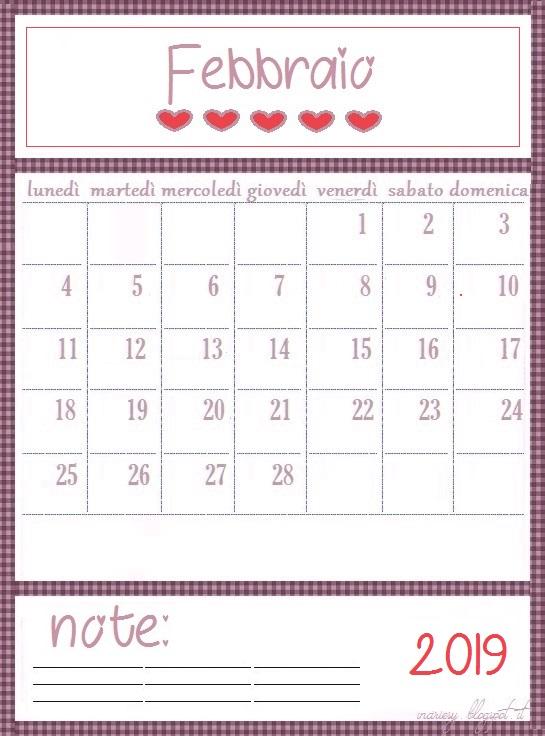 Calendario Dicembre 2019 Stampabile.Calendario Stampabile Mese Febbraio 2019 Inartesy