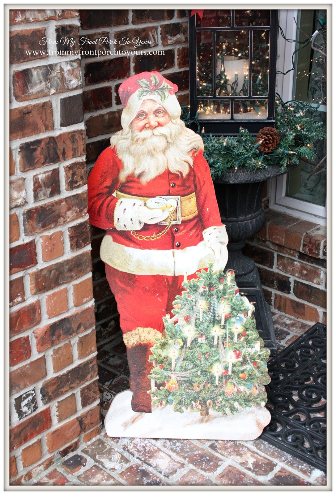 Vintage Cutout Santa- Antique Farmhouse-Simple Vintage Christmas Front Porch- From My Front Porch To Yours