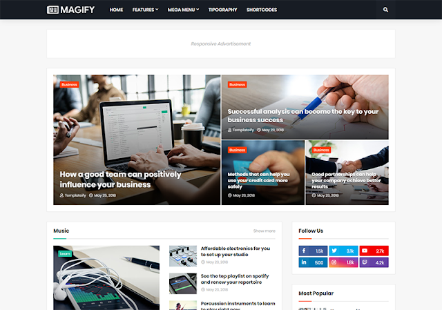 Magify Premium Blogger Template For Blogger