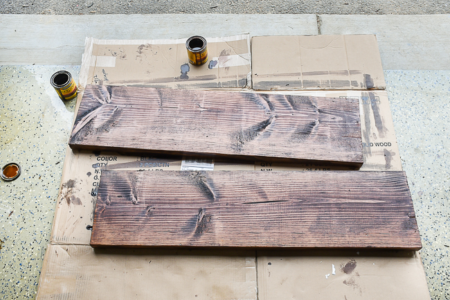 Stained wood for diy office shelves