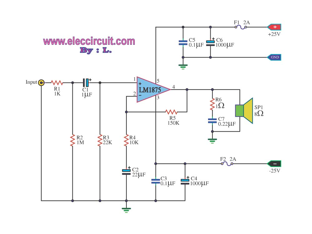 Hi Fi Audio Amplifier Circuit Lm1875