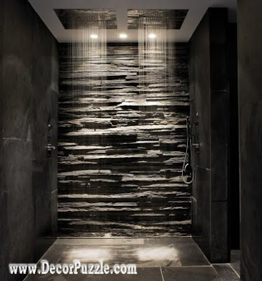 shower tile ideas, shower tile designs, tiling a shower, black stone tile shower