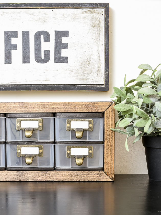 Modern farmhouse industrial inspired Dollar Tree storage drawers