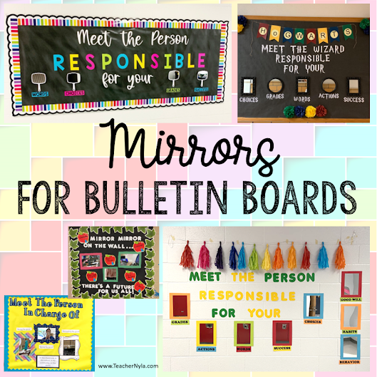 Mirrors for bulletin boards