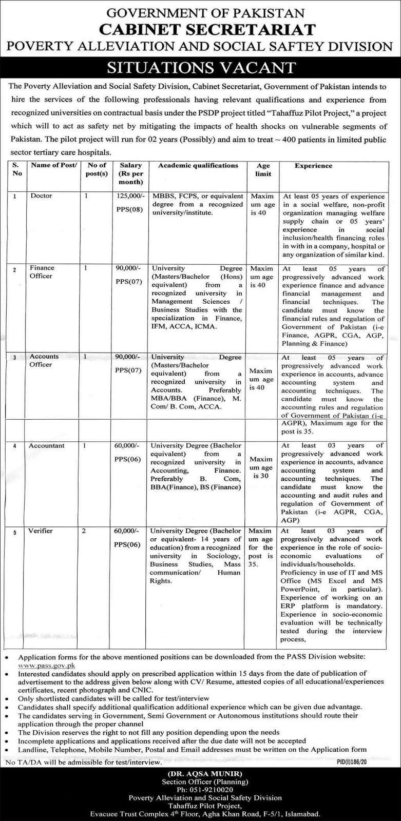 Poverty Alleviation And Social Safety Division Jobs 2020 for Finance Officer, Accounts Officer, Accountant & more