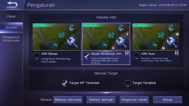 Setting Kontrol Mobile Legends Lebih Suka Yang Mana AIM Bebas, Advance AIM atau AIM Auto