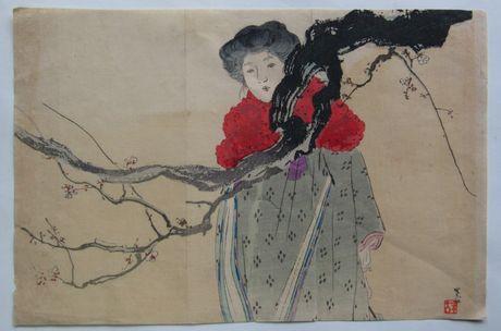 梶田半古 (梅と美人)  の木版画販売買取ぎゃらりーおおのです。愛知県名古屋市にある木版画専門店