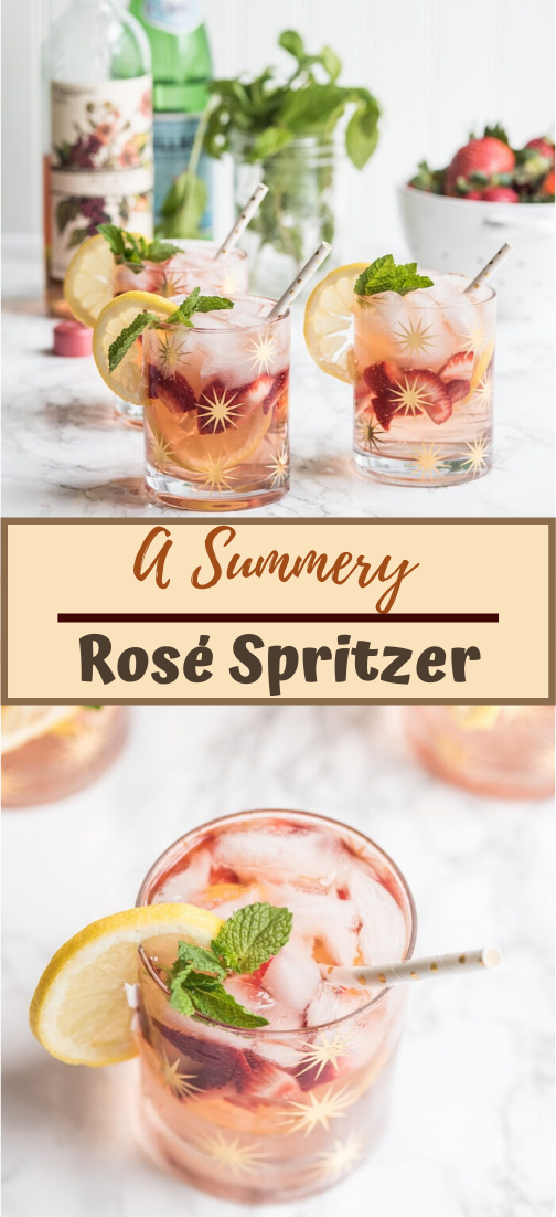 A Summery Rosé Spritzer  #healthydrink #easyrecipe #cocktail #smoothie