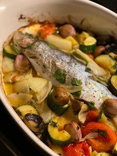 Katis Rezetgeschichten, Forelle im Gemüsebeet, Corona, Essen, Fischauflauf