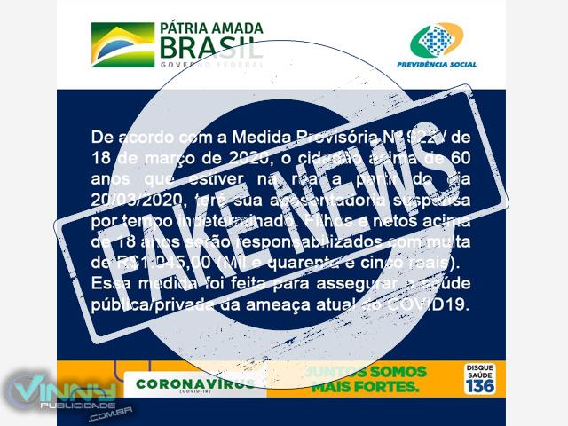 Coronavírus: É #Fake que medida provisória determina suspensão da aposentadoria dos idosos que saírem às ruas