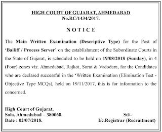 Gujarat High Court Bailiff Main Exam Date 2018 and Process server