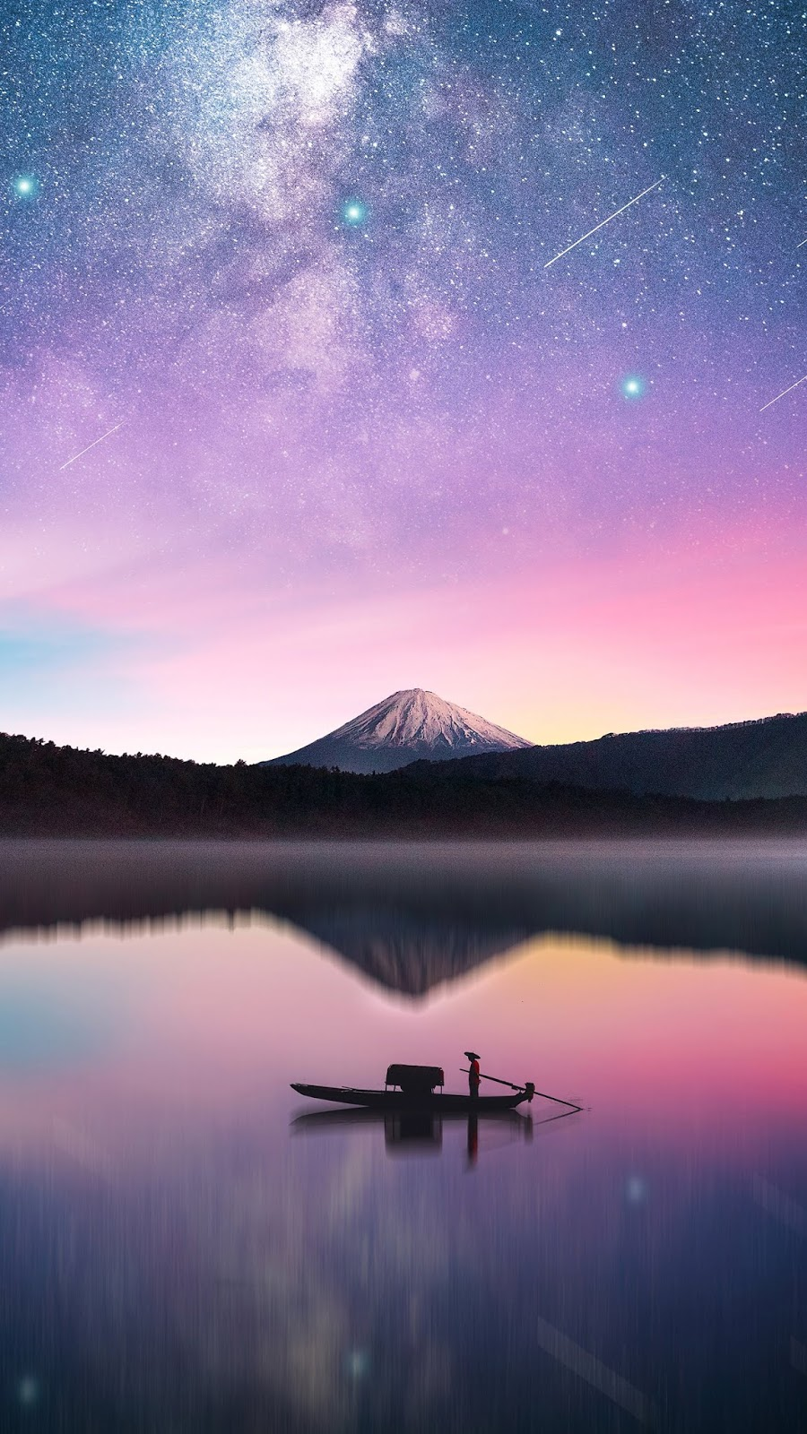 Milky Way in mount Fuji mobile wallpaper