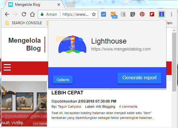 ekstensi lighthouse di chrome