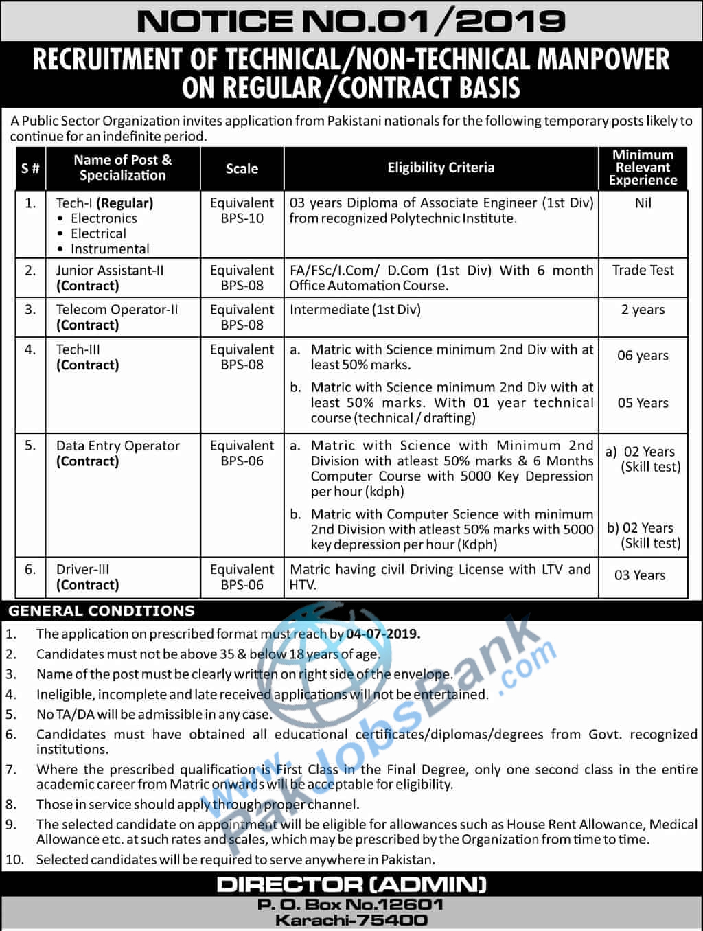 PO Box 12601 Karachi Jobs Application form download for PAEC