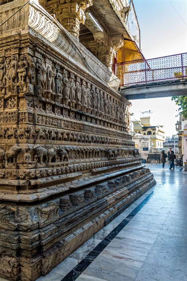 intricately carved outer walls of the temple