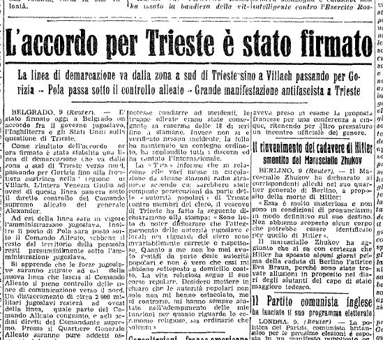 12 giugno 1945 finisce l'occupazione slava di Trieste ...