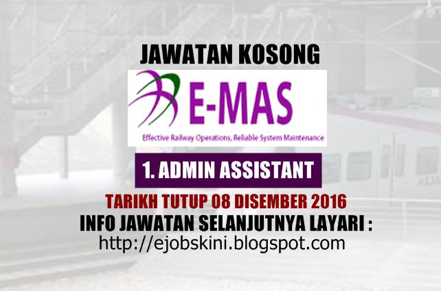 Jawatan Kosong ERL Maintenance Support Sdn Bhd (E-MAS) Disember 2016
