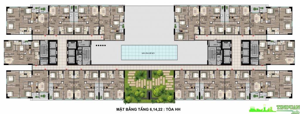 Mặt bằng điển hình dự án tầng 6,14,22 tại chung cư Bộ Công An - Cổ Nhuế