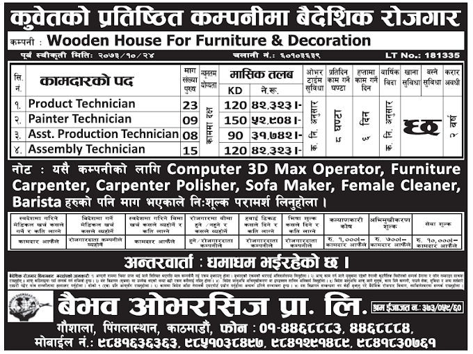 Jobs in Kuwait for Nepali, Salary Rs 52,904