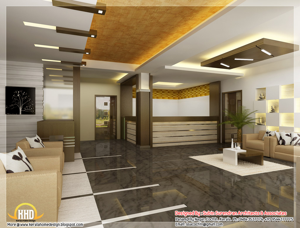 Beautiful 3d interior office designs kerala home design for Home blueprint ideas