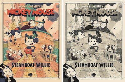 """Steamboat Willie"" Mickey Mouse Screen Print by JJ Harrison x Mondo x Disney"