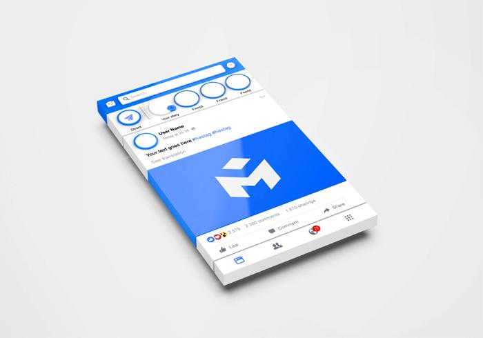3D Interface Social Media Facebook Mockup
