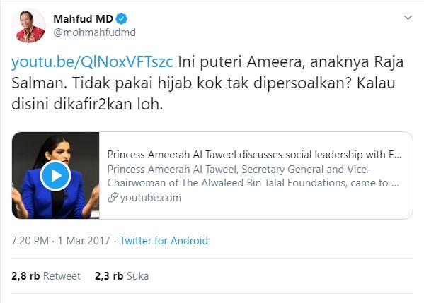 Mahfud MD Puteri Ameera Anak Raja Salman Tak Berjilbab Disebut Hoax