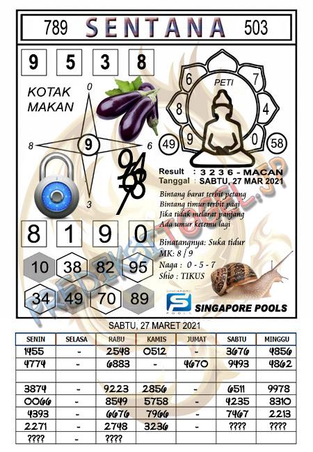 Syair Sentana SGP Sabtu 27-Mar-2021