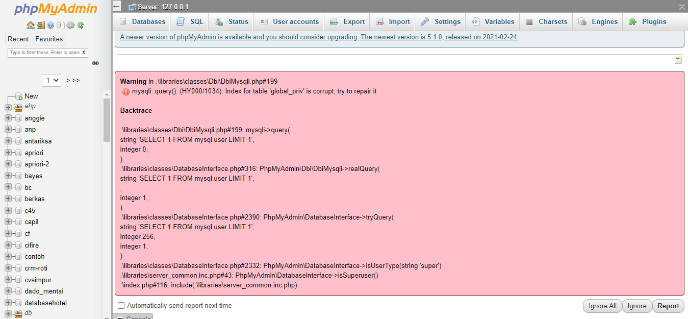 mysqli::query(): (HY000/1034): Index for table 'global_priv' is corrupt; try to repair it