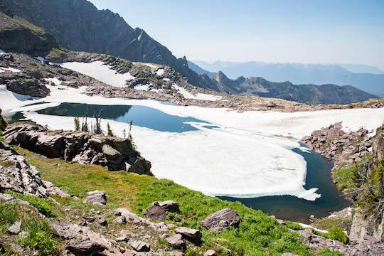 Akaiyan Lake view on Sperry Lake trail near Sperry Glacier