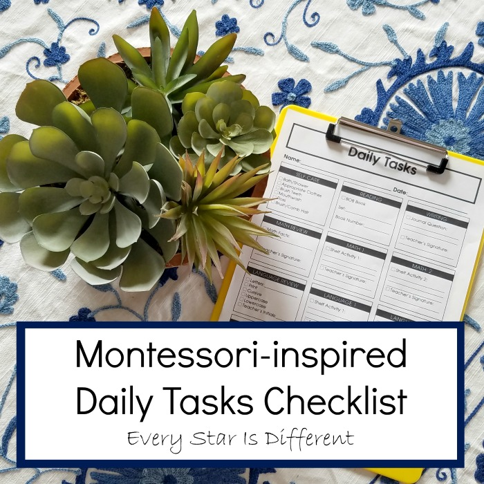Montessori Daily Task Checklist