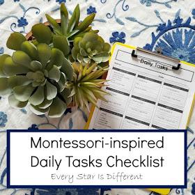 Montessori-inspired Daily Tasks Checklist (Free Printable)