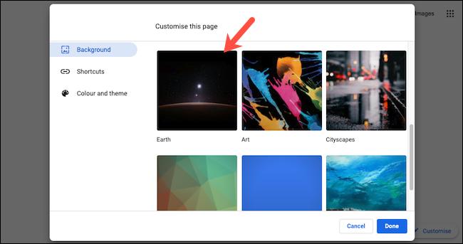 عرض مجموعات خلفية الخلفية على Google Chrome.