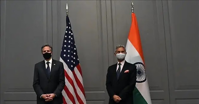 US Secretary of State Antony Blinken (left) and Indian Foreign Minister Subrahmanyam Jaishankar (right) at a meeting in London, England. File photo AFP