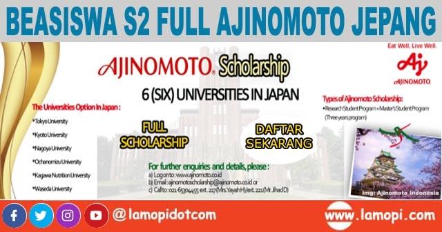 Beasiswa Full S2 Ajinomoto Scholarship Ke Jepang 2020 - 2021