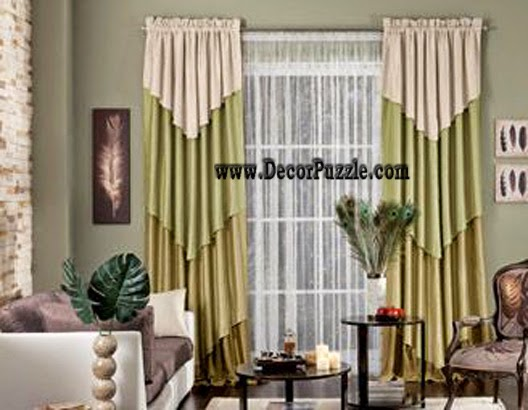 diy simple curtain design 2015, green curtain styles for living room