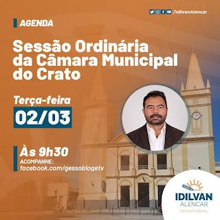 Deputado Idilvan Alencar participa da Sessão Ordinária da Câmara Municipal do Crato