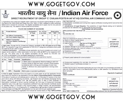 IAF Recruitment 2017: 07 MTD, MTS | 21-05-2017 | indianairforce.nic.in