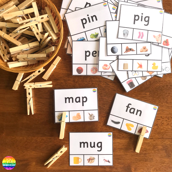 CVC Word Clip Cards - children have to use their phonics skills to be able to read the CVC word in order to selected the correct picture to match | you clever monkey