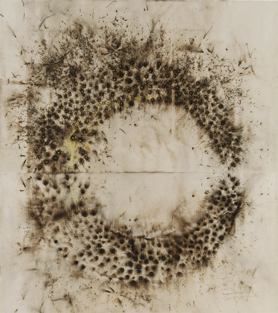 Cai Guo-Qiang Drawing for Transient Rainbow, 2003 Gunpowder on paper,  198 x 157 inches