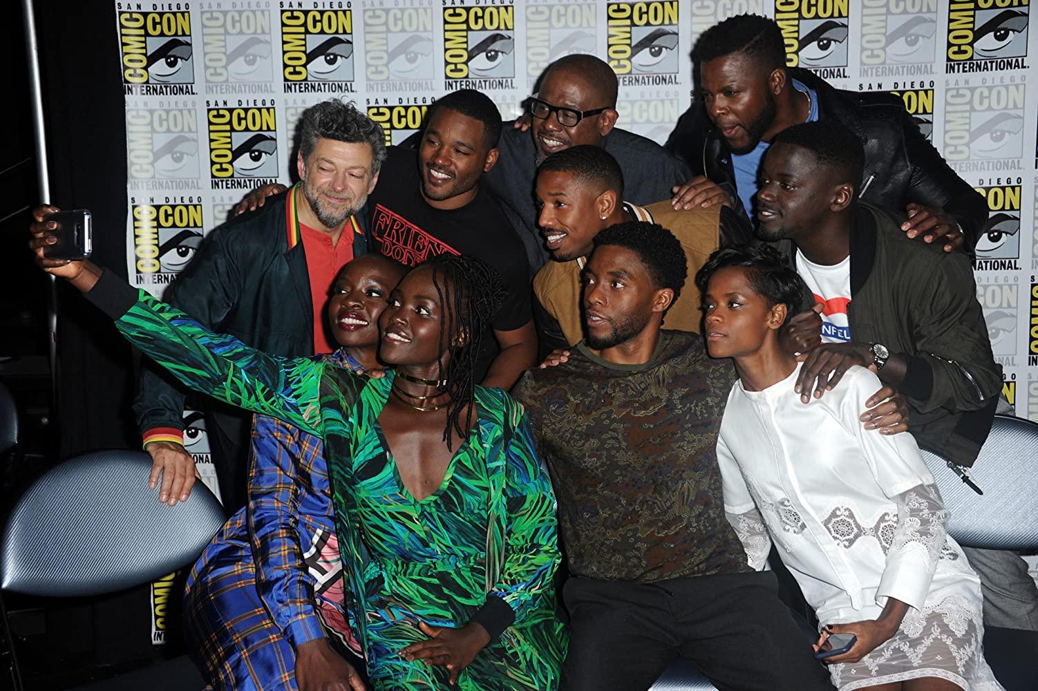 Forest Whitaker, Michael B. Jordan, Andy Serkis, Chadwick Boseman, Danai Gurira, Lupita Nyong'o, Daniel Kaluuya, Ryan Coogler, Letitia Wright, and Winston Duke at an event for Black Panther (2018)