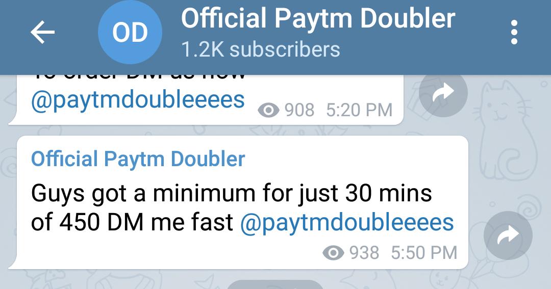 SCAMMER PAYTM MONEY DOUBLE: Telegram paytm money double scam