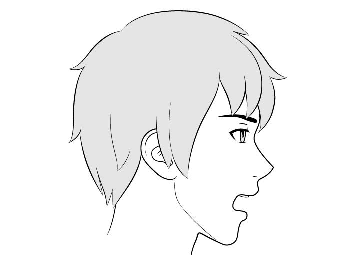 Anime laki-laki tampilan sisi wajah gambar mulut terbuka