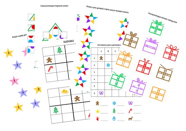 na zdjęciu zadania takie jak łączenie w pary, sudoku, rysowanie brakujących elementów czy współrzędne