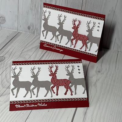 Cherry Cobbler Christmas Card with 4 deer images on card front